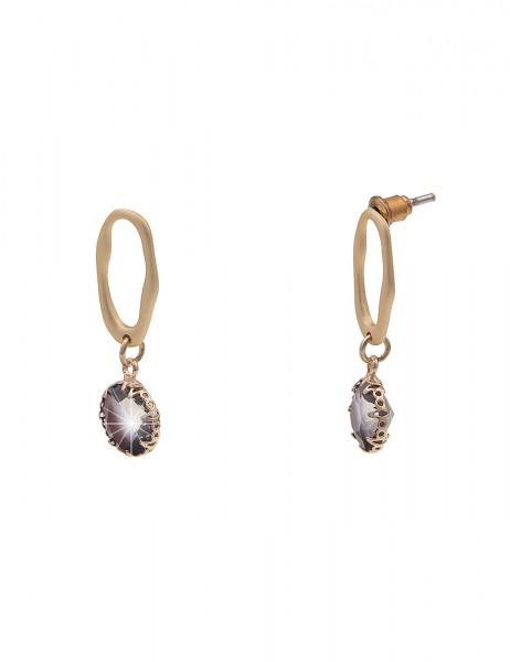 Leslii Damen-Ohrringe Ohrhänger Oval Glas-Stein Stein-Ohrringe goldene Modeschmuck-Ohrringe Gold Gra