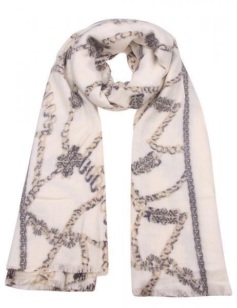 Leslii Damen Schal Ketten-Muster Scarf-Print weicher Winterschal XXL-Schal beiger Schal Größe 180cm