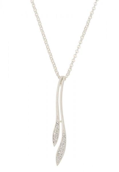 Leslii Damenkette Glitzer Äste aus Metalllegierung mit Strass Länge 80cm in Matt Silber