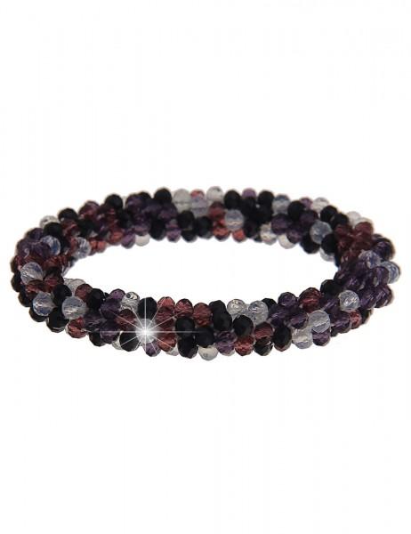 Leslii Damenarmband Kristallkorn aus Glasperlen Länge 19cm dehnbar in Schwarz Lila