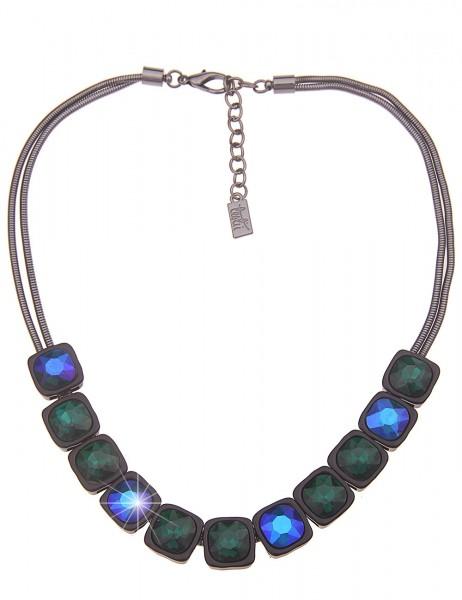 Leslii Damen-Kette Statement-Kette Glas-Steine Collier kurze Halskette schwarze Modeschmuck-Kette in