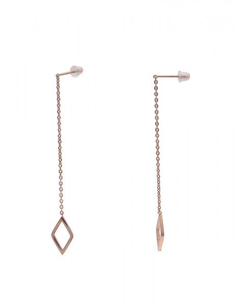 Leslii Damenohrringe Ohrhänger Raute aus Metalllegierung Länge 6cm in Rosé