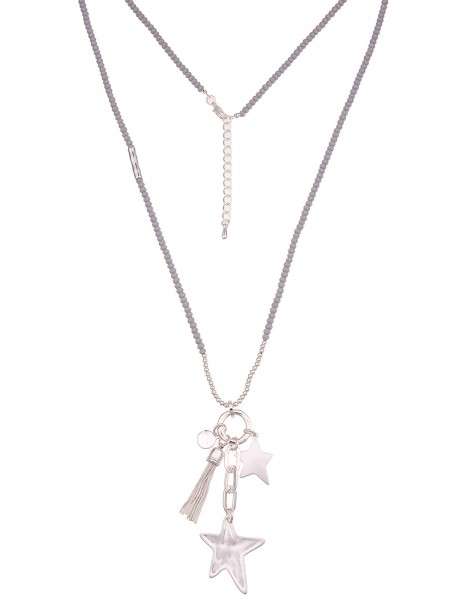 -50% SALE Leslii Damen-Kette Glasperlen Sterne Silber Grau Metalllegierung Matt 85cm + Verlängerung