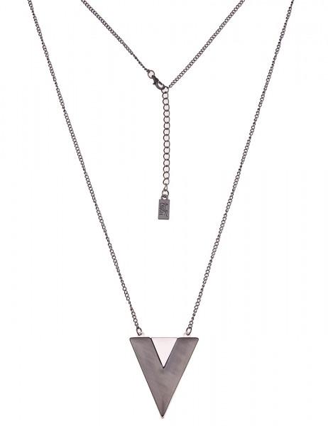 Leslii lange Damenkette mit Dreieck-Anhänger aus Metalllegierung Silber Schwarz