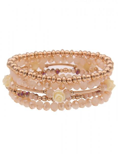 Leslii Damen-Armband 5er Set Statement-Armband Rosen-Armband Blumen Glasperlen goldenes Modeschmuck-