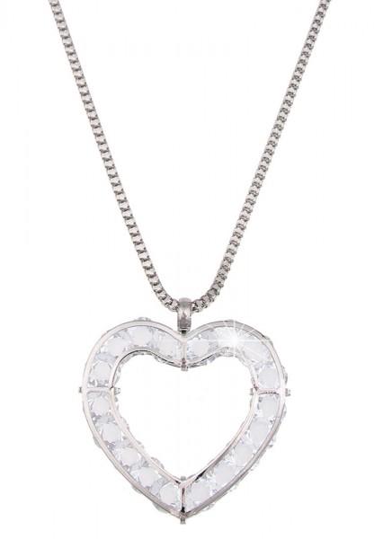 Leslii Damenkette Glitzerkörner Herz aus Metalllegierung mit Glassteinen Länge 80cm in Silber