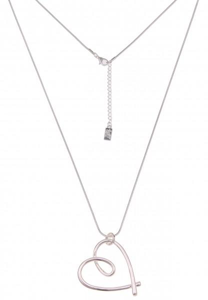 Leslii Damenkette Glanz Herz lange Halskette Herzkette Liebe Modeschmuck-Kette Länge 84cm in Silber