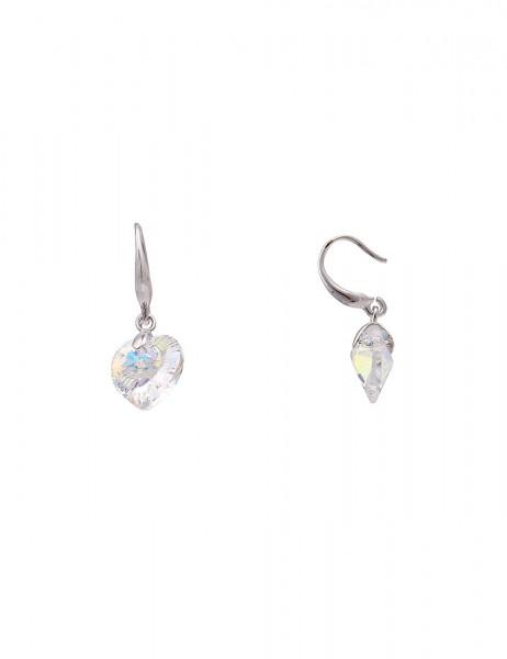 Leslii Damen-Ohrringe Ohrhänger Funkel Herz Silber Bunt Metalllegierung Glasstein 2,7cm 230116604