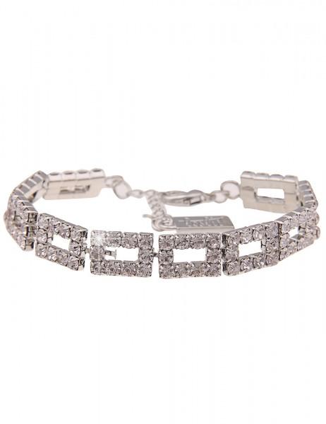 Leslii Damen-Armband Glitzer-Armband Statement-Armband Strass-Schmuck Glieder silbernes Modeschmuck-