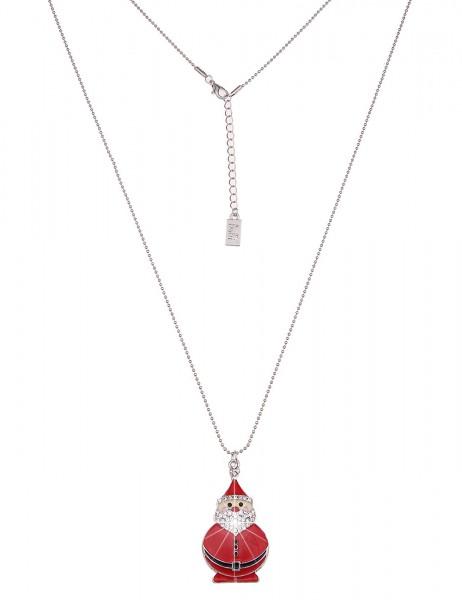 Leslii Damenkette Weihnachtsmann aus Metalllegierung mit Strass Länge 84cm in Rot Silber