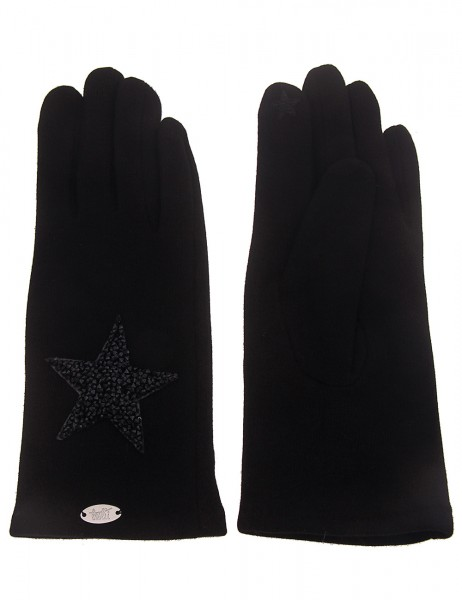 Leslii Damen-Handschuhe Strass-Stern Stern-Handschuhe schwarze Winter-Handschuhe Teddy-Fleece weiche