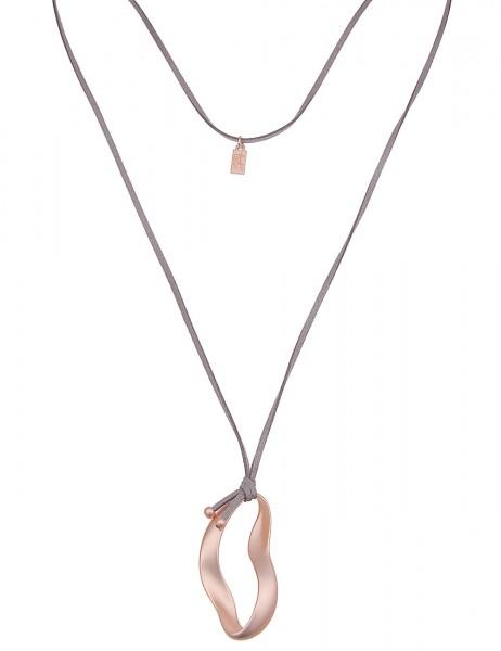 Leslii Damenkette Swing aus Lederimitat mit Metalllegierung Länge 83cm in Rosé Grau Matt