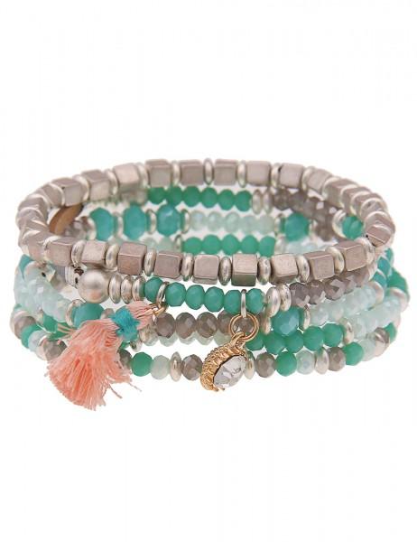 Leslii Damen-Armband 5er-Set Glasperlen Troddel Quaste breites Armband silbernes Modeschmuck-Armband