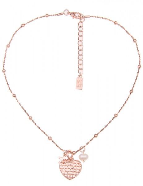 Leslii Damen-Kette Gitter Herz Rosé Metalllegierung Zuchtperle 45cm + Verlängerung 210116327