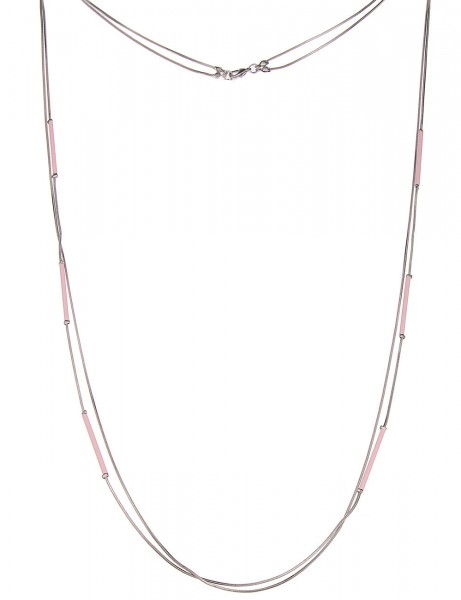 Leslii Halskette Stäbe Rosa Silber   lange Damen-Kette Mode-Schmuck   92cm + Verlängerung