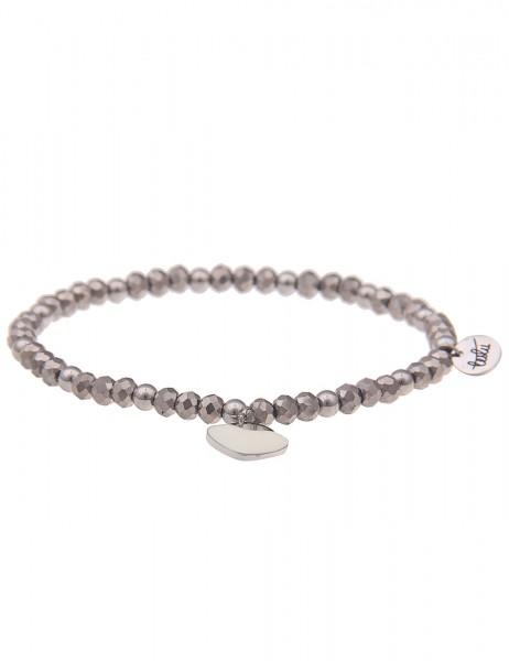 Leslii Damen-Armband Glasperlen-Armband Herz-Armband Herz-Schmuck graues Modeschmuck-Armband in Grau