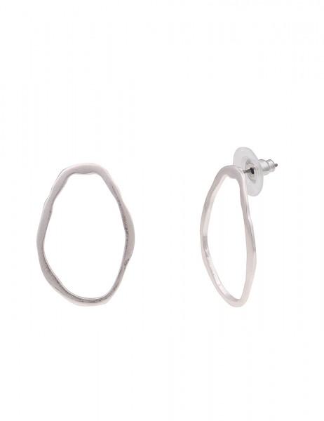Leslii Damenohrringe Ohrstecker Oval aus Metalllegierung Länge 2,8cm in Silber