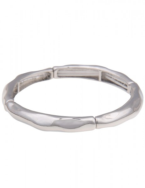 Leslii Damenarmband Armreif Business Look aus Metalllegierung Länge 19cm dehnbar in Silber