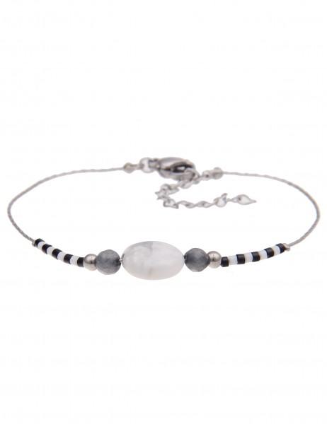 -50% SALE Leslii 4Teen Damenarmband Modern Stone aus Metalllegierung mit Naturstein Länge 16cm in Si