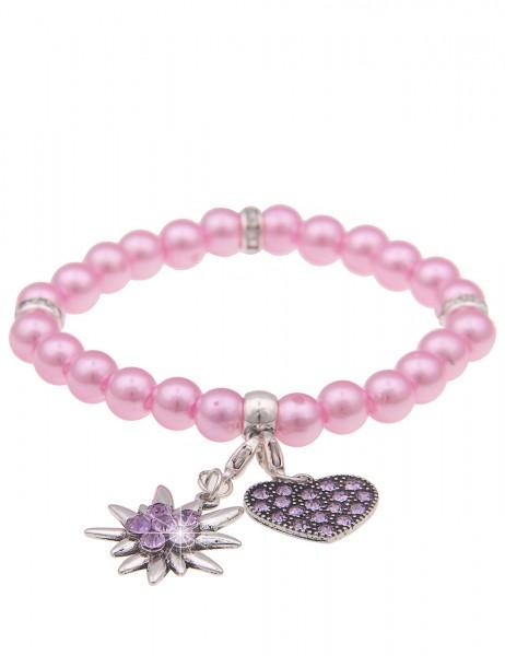 Leslii Damen-Armband Herz-Anhänger Edelweiß Oktoberfest Wiesn Dirndl rosa Perlen-Armband Modeschmuck