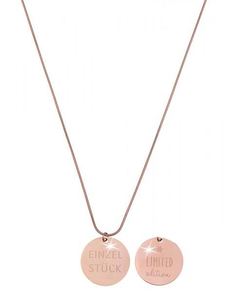 -70% SALE Leslii Damenkette Spruchkette Einzelstück aus Metalllegierung Länge 86cm in Rosé