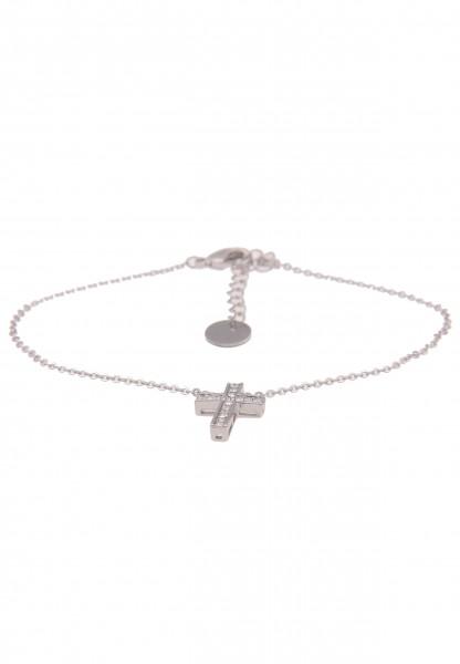 Leslii Damen-Armband Strass-Kreuz Christa Kreuz-Schmuck Glaube Religion silbernes Modeschmuck-Armban