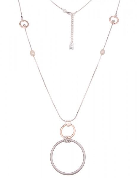 Leslii Damen-Kette Ring-Anhänger Tricolor echte Perlen lange Halskette silberne Modeschmuck-Kette in
