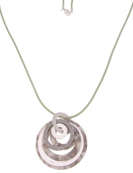 Leslii Damen-Kette XXL-Anhänger Statement Ring Stoff-Kette lange Halskette hellgrüne Modeschmuck-Ket