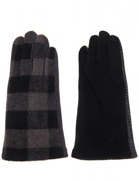Leslii Damen Handschuhe Fashion Karomuster aus Polyester Größe One Size in Grau