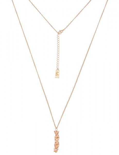 Leslii Damen-Kette Funkel Steine Gold Braun Metalllegierung Glassteine 84cm + Verlängerung 220116329
