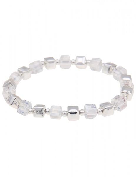 Leslii Damenarmband Würfelspiel Würfel-Armband Glas-Schmuck Modeschmuck-Armband Länge 19cm dehnbar i