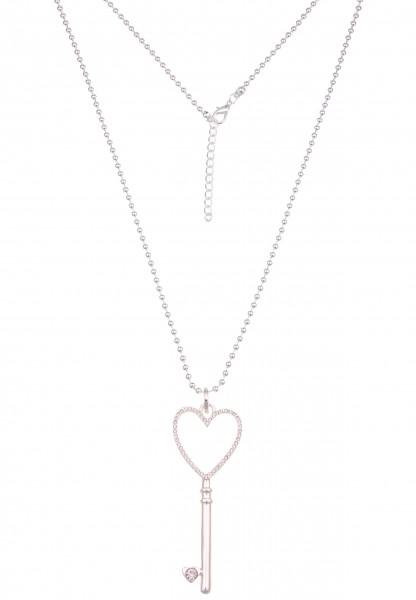 Leslii Damenkette Glitzer Strass-Schlüssel Herz-Kette lange Halskette Schlüssel-Kette silberne Modes
