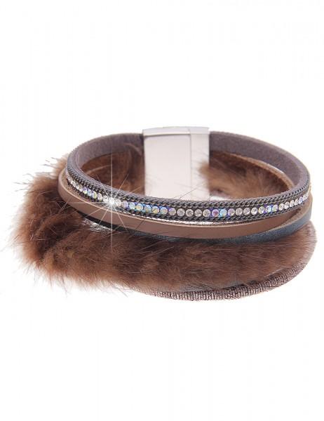 Leslii Damen-Armband Glitzer Fell-Look Taupe Metalllegierung Lederimitat 19cm mit Magnetverschluss 2