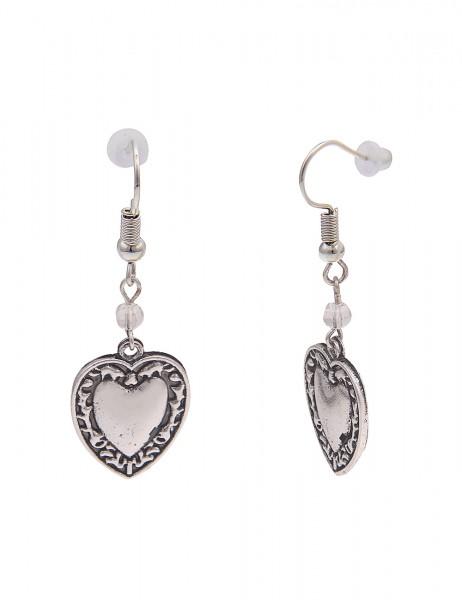 Leslii Damen-Ohrringe Ohrhänger Herz-Ohrringe Oktoberfest-Schmuck Wiesn-Ohrringe silberne Modeschmuc