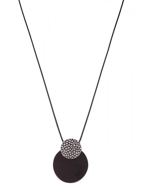 Leslii Damenkette Holz Scheibe aus Textil mit Metalllegierung Länge 90cm in Schwarz Braun