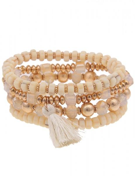 Leslii Damen-Armband 4er Set Statement-Armband Glasperle Gummi Kautschuk-Armband goldenes Modeschmuc