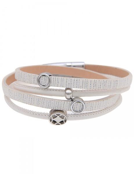 Leslii Damen Wickel-Armband Strass-Oval Weiß Lederimitat Metalllegierung Länge: 39,5cm Magnetschließ