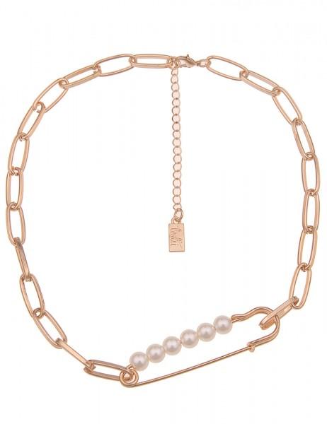 Leslii Damenkette Sicherheits-Nadel Glieder-Kette weiße Perlen-Kette kurze Halskette goldene Modesch