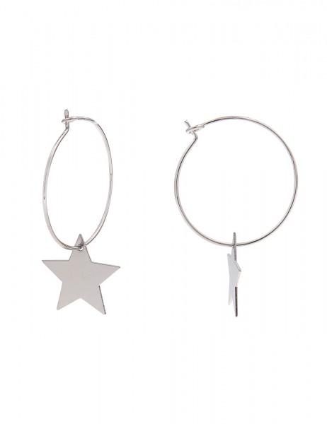 -70% SALE Leslii Ohrringe Creolen Glanzstern Silber | Trendige Damen-Ohrringe | Mode-Schmuck | Länge