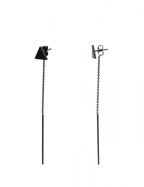 Leslii 4teen Damenohrringe Ohrhänger Dreieck aus Metalllegierung Länge 8,3cm in Schwarz