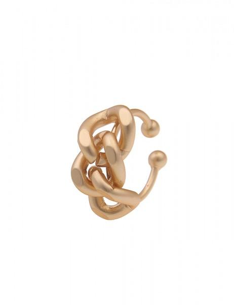 Leslii Damen-Ring Glieder-Look mattierter Ring Statement-Schmuck goldener Modeschmuck-Ring verstellb