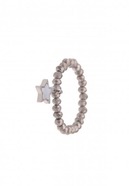 Leslii Damen-Ring Stretch-Ring Glas-Perlen Stern-Ring Stern-Schmuck Perlmutt grauer Modeschmuck-Ring