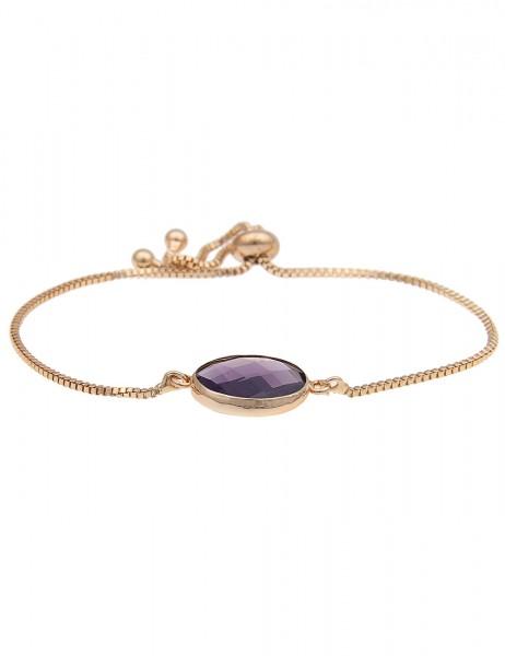 -50% SALE Leslii Damenarmband Rund aus Metalllegierung mit Naturstein Größe verstellbar Lila Gold