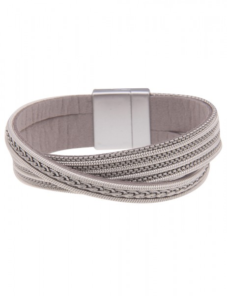 Leslii Damen-Armband Statement-Armband veganes Leder-Armband graues Modeschmuck-Armband breiter Arms