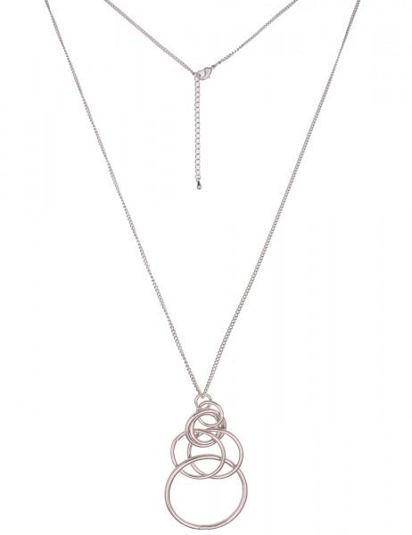 Leslii Damen-Kette zarte Glieder-Kette Ring-Anhänger lange Halskette silberne Modeschmuck-Kette in S