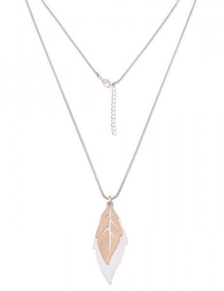 Leslii Damenkette Wüstenblatt aus Metalllegierung Länge 83cm in Silber Gold Matt