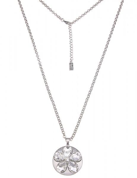 Leslii Damen-Kette Statement Blume Silber Metalllegierung Glassteine 85cm + Verlängerung 220115936