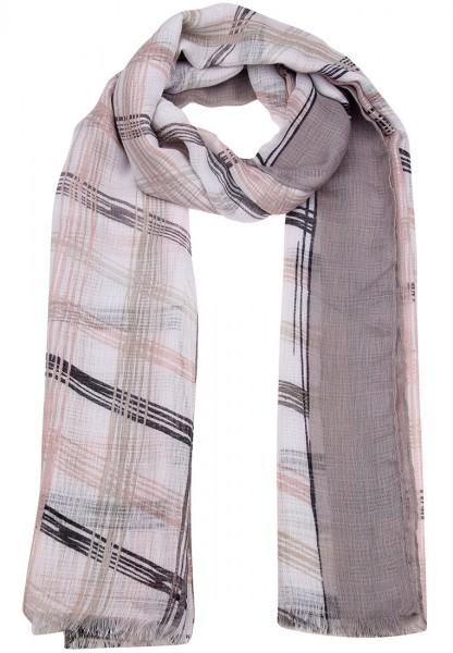 LAST CHANCE Leslii Schal Kariert Rosa Grau   Trendiger Damen-Schal   Mode-Accessoire   180cm x 91cm