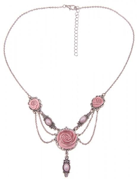 Leslii Damen-Kette Rosen-Blüten Blumen-Kette Filigran Dirndl-Kette Oktoberfest kurze Halskette Modes