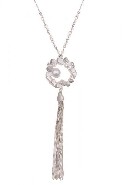 Lange Halskette Silver Pearl Matt Silber